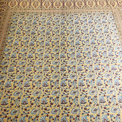 Brown and blue flowered cotton tapestry