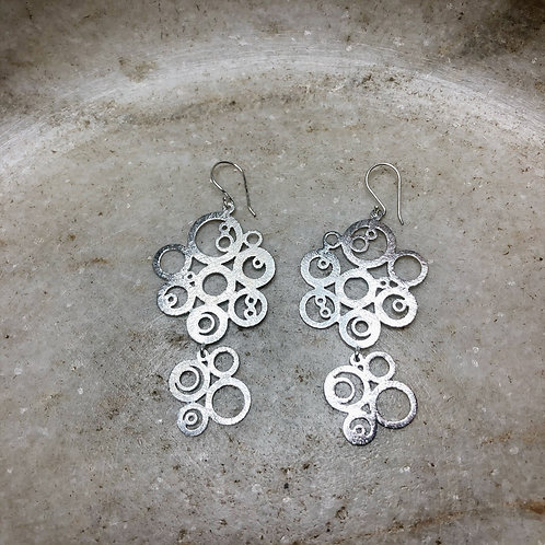 Brushed silver clouds earrings