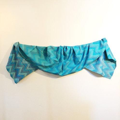 Blue zigzag intricate kantha stitch scarf