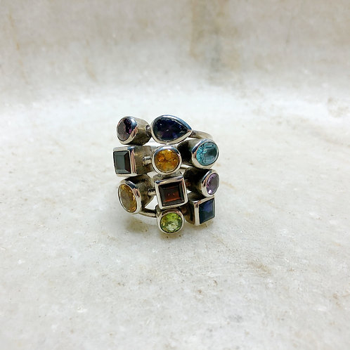 Multi stone bling silver ring