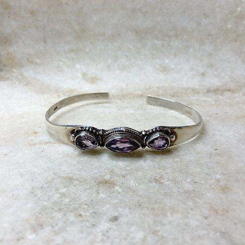 Three amethyst silver cuff bracelet