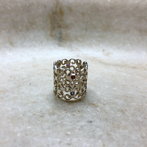 Jewel studded silver screen ring