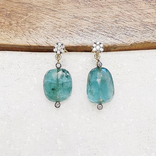 Emerald diamond gold post earrings