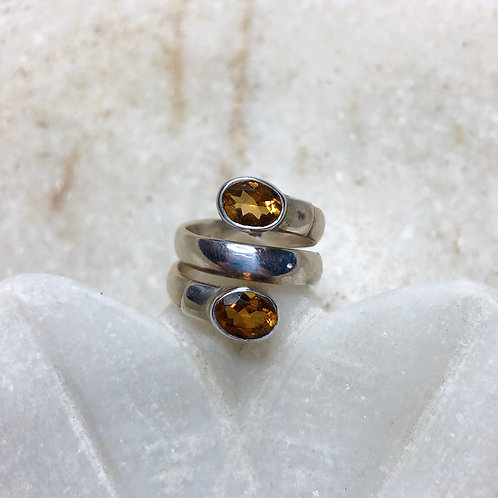 Double citrine silver ring