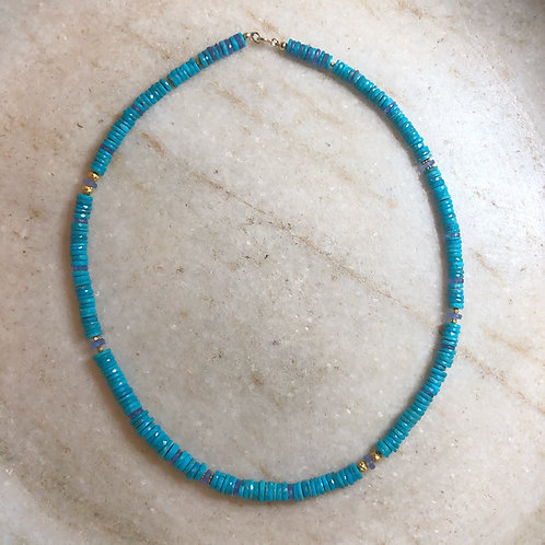 Turquoise and tanzanite gold necklace