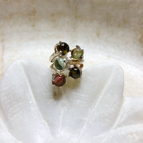 Bouquet of tourmaline silver ring