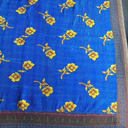 Antique blue with yellow flowers kantha bedspread