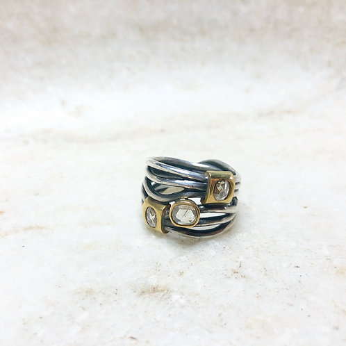 Silver and gold 3 diamond wrap ring
