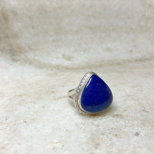 Lapis teardrop silver ring
