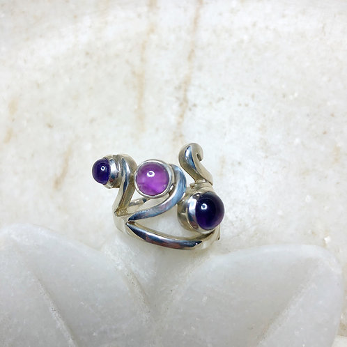 Triple amethyst silver ring