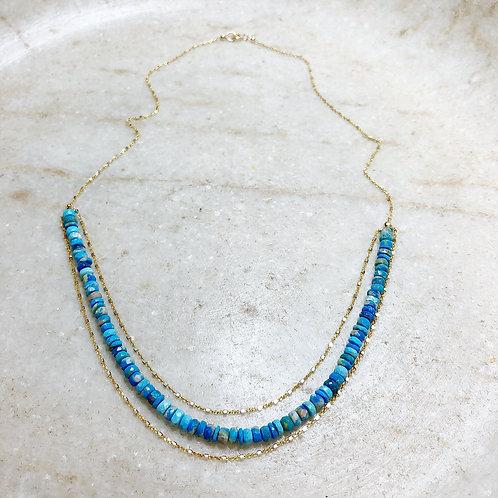 Cerulite gold necklace
