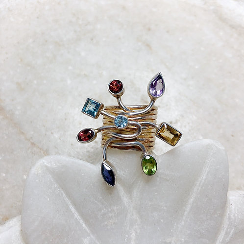 Starburst of jewels silver ring