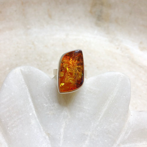 Irregular amber silver ring
