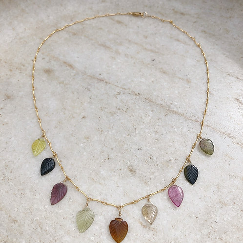 Tourmaline leaf gold necklace