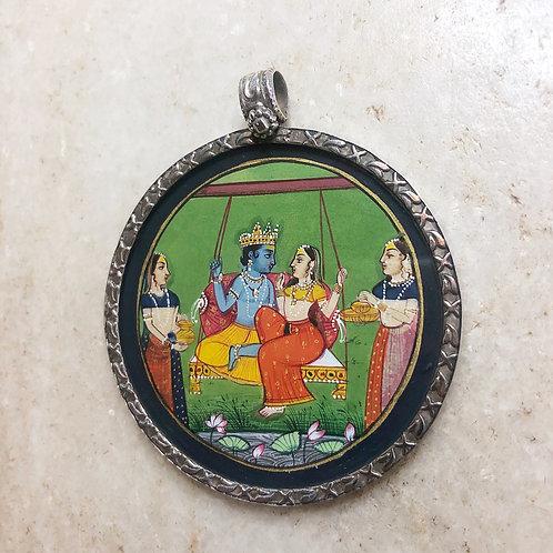 Krishna and Radha silver pendant