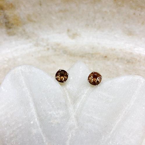 Smoky quartz silver stud earrings