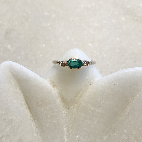 Emerald diamond silver gold ring