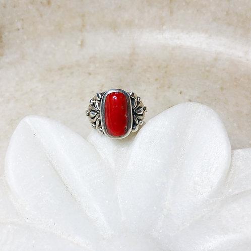 Tibetan coral silver ring