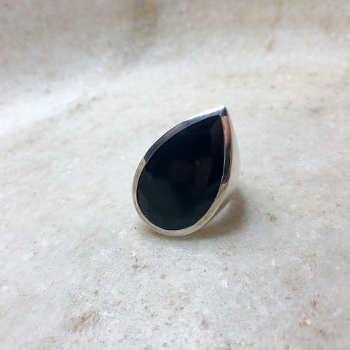 Black onyx tilting teardrop silver ring
