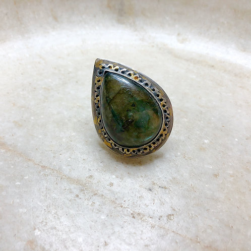 Labradorite silver with gold ring