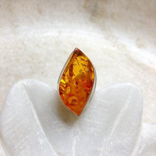 Elegant orange amber silver ring