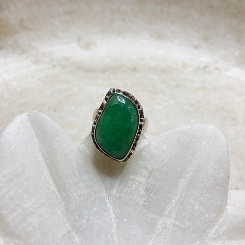 Rough emerald silver ring