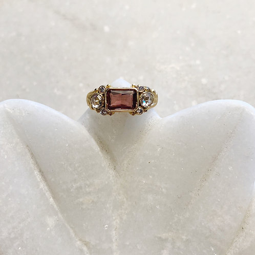 Tourmaline diamond gold ring