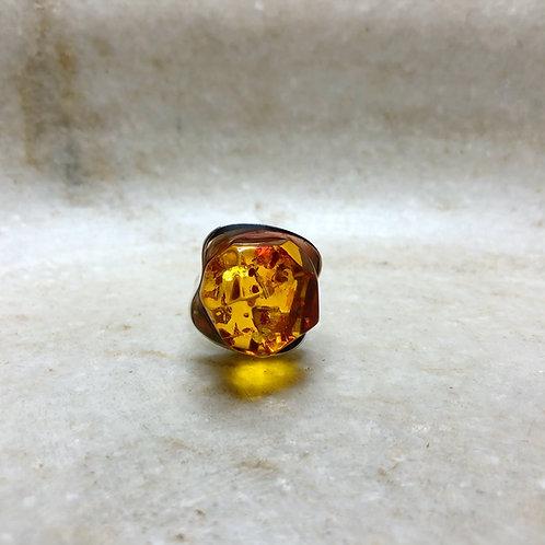 Amber box silver ring