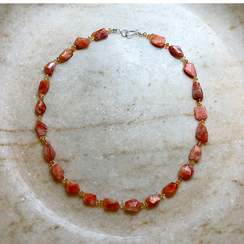Sunstone and citrine silver necklace