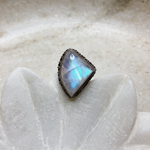 Triangle rainbow moonstone silver ring