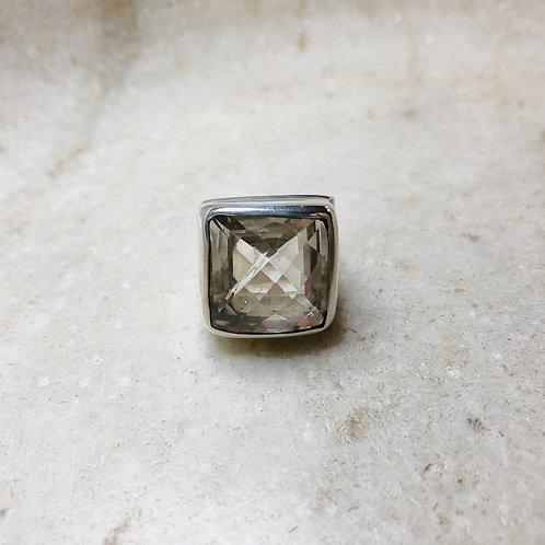 Faceted square quartz silver ring