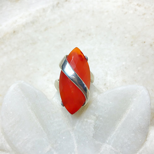 Long snaky carnelian silver ring