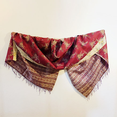 Red and yellow kantha silk simple stitch shawl