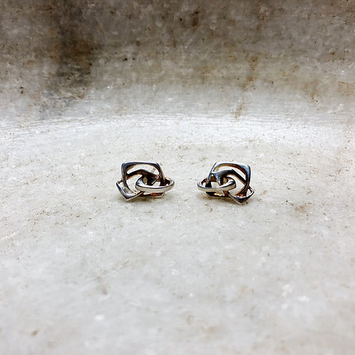 Silver twist stud earrings