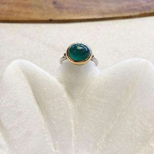 Emerald gold and silver ring