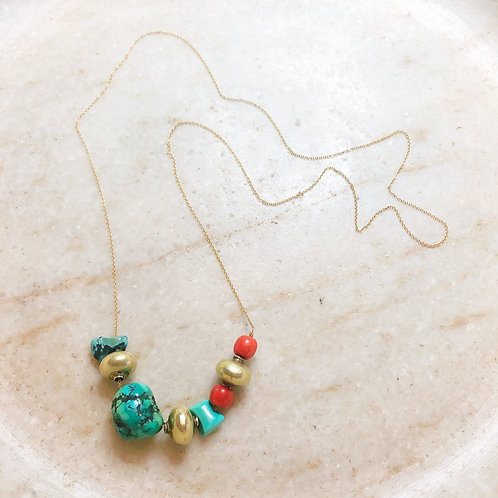 Turquoise, coral, gold lac beads necklace