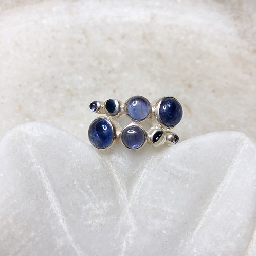Balls of iolite and silver ring