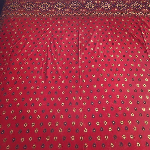 Red mango leaf cotton tapestry