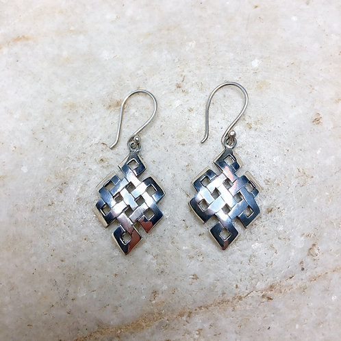 Triangular endless knot silver earrings