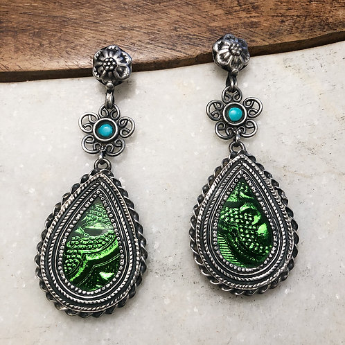 Rajasthani tribal silver post earrings