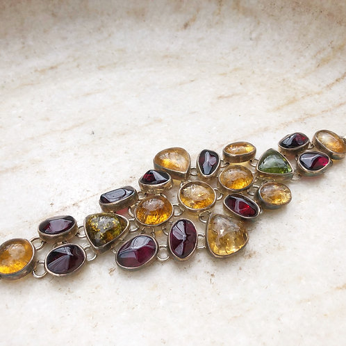Red and yellow tourmaline bracelet
