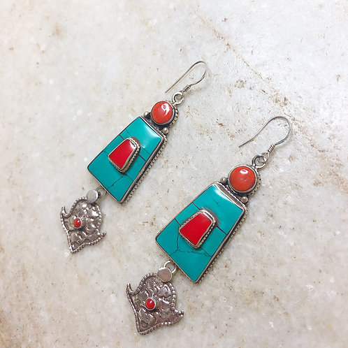 Tribal turquoise and coral silver earrings