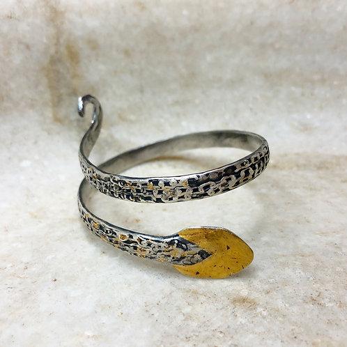 Silver and gold snake bracelet
