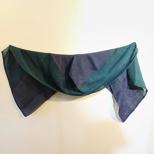 Green and purple Latvian linen shawl
