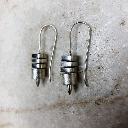 Stacked blocks silver earrings