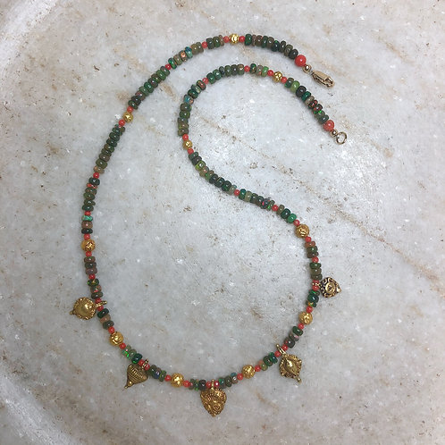 Opal and coral gold necklace