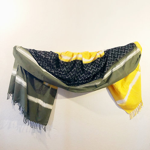 Yellow and black ikat cotton tapestry