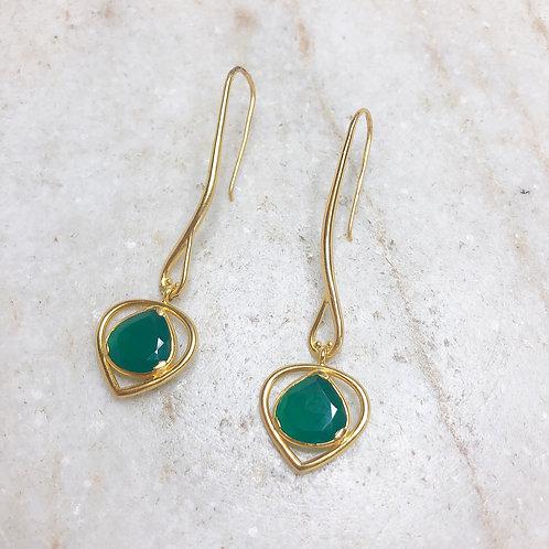Long green onyx gold teardrop earrings