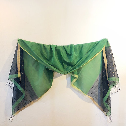 Green and black silk shawl