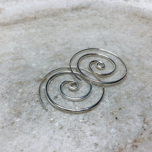 Small silver spiral hoop earrings